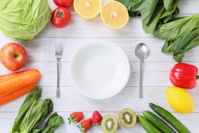 食器と野菜の写真